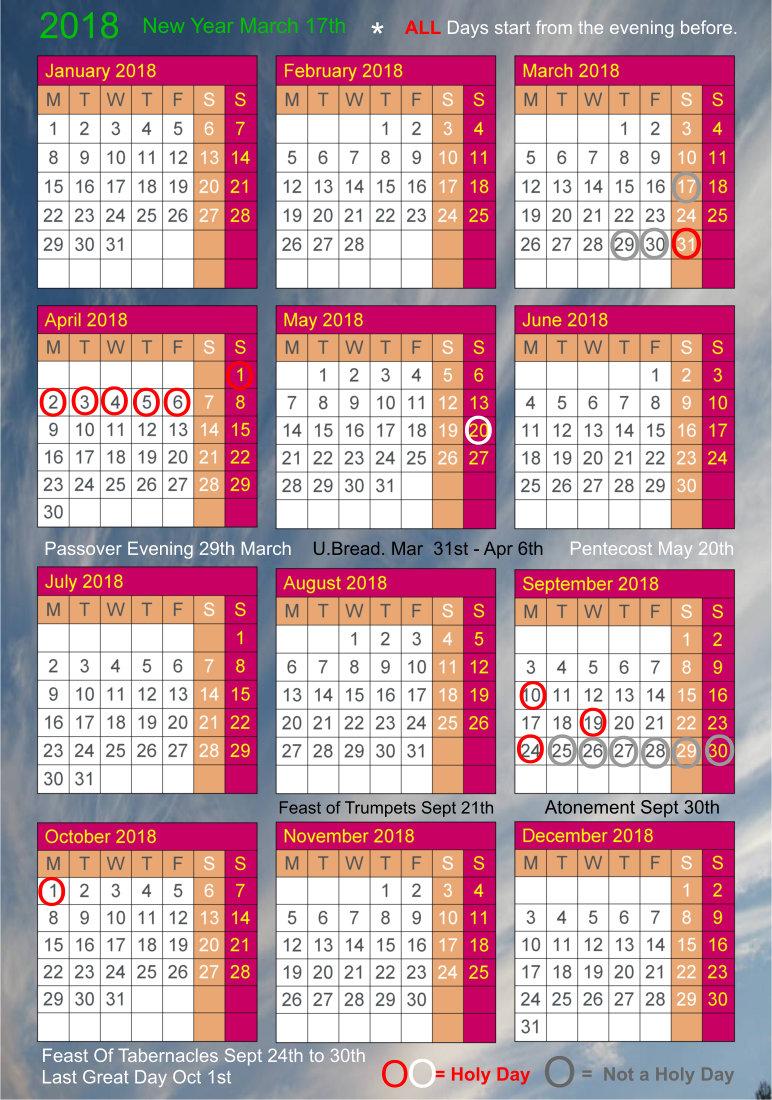 Calendar 2019 Passover